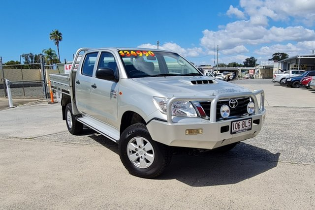 Used Toyota Hilux KUN26R MY12 SR Double Cab Morayfield, 2013 Toyota Hilux KUN26R MY12 SR Double Cab Silver 5 Speed Manual Cab Chassis