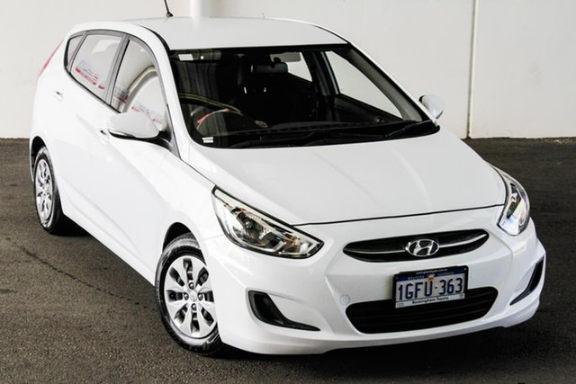 Pre-Owned Hyundai Accent RB4 MY16 Active Myaree, 2016 Hyundai Accent RB4 MY16 Active White 6 Speed CVT Auto Sequential Hatchback