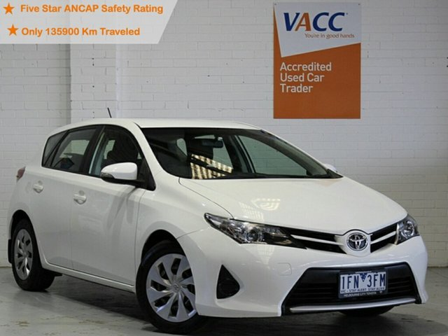 Used Toyota Corolla ZRE182R Ascent S-CVT Moorabbin, 2013 Toyota Corolla ZRE182R Ascent S-CVT White 7 Speed Constant Variable Hatchback
