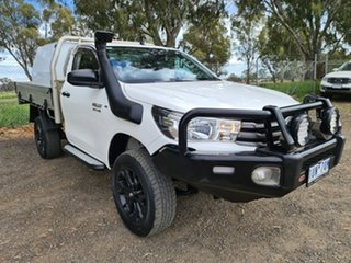 2019 Toyota Hilux GUN126R SR White 6 Speed Sports Automatic Cab Chassis.