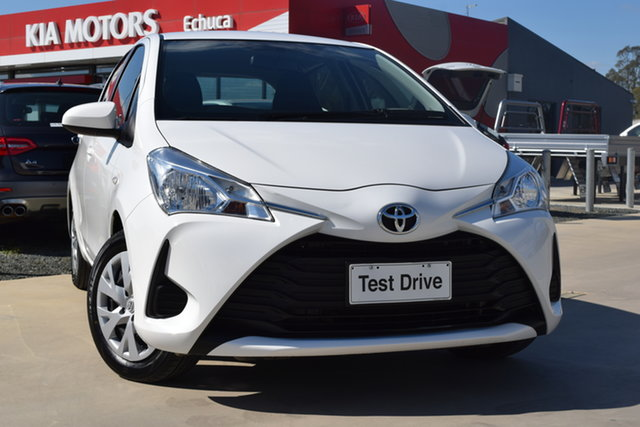 Used Toyota Yaris NCP130R Ascent Echuca, 2017 Toyota Yaris NCP130R Ascent Glacier White 5 Speed Manual Hatchback