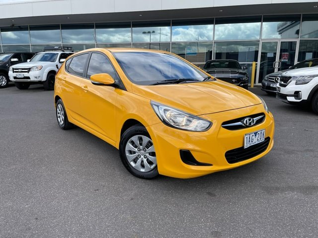 Used Hyundai Accent RB2 Active Essendon Fields, 2013 Hyundai Accent RB2 Active Yellow 4 Speed Sports Automatic Hatchback