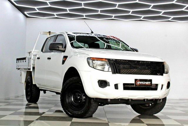 Used Ford Ranger PX XL 2.2 (4x4) Burleigh Heads, 2014 Ford Ranger PX XL 2.2 (4x4) White 6 Speed Automatic Crew Cab Chassis