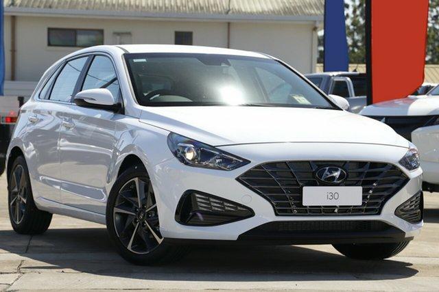 New Hyundai i30 PD.V4 MY22 Active Beaudesert, 2021 Hyundai i30 PD.V4 MY22 Active Polar White 6 Speed Sports Automatic Hatchback