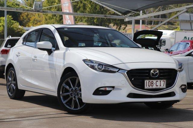 Used Mazda 3 BN5438 SP25 SKYACTIV-Drive Astina Bundamba, 2017 Mazda 3 BN5438 SP25 SKYACTIV-Drive Astina Snowflake White 6 Speed Sports Automatic Hatchback