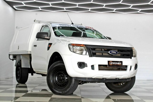 Used Ford Ranger PX XL 2.2 Hi-Rider (4x2) Burleigh Heads, 2013 Ford Ranger PX XL 2.2 Hi-Rider (4x2) White 6 Speed Manual Cab Chassis