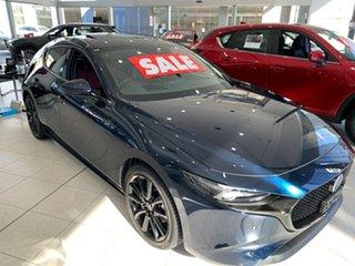2021 Mazda 3 BP2HLA G25 SKYACTIV-Drive Astina Deep Crystal Blue 6 Speed Sports Automatic Hatchback.
