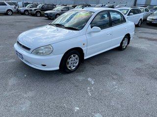 2001 Kia Rio White 4 Speed Automatic Sedan.
