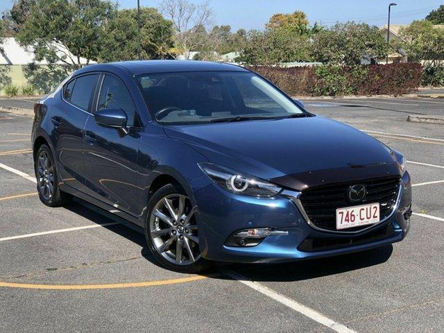Used Mazda 3 BN5238 SP25 SKYACTIV-Drive Astina Chermside, 2018 Mazda 3 BN5238 SP25 SKYACTIV-Drive Astina Blue 6 Speed Sports Automatic Sedan