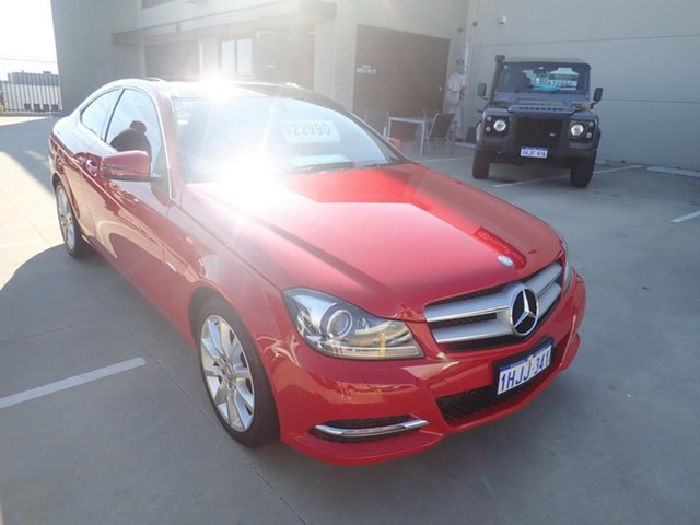 Used Mercedes-Benz C180 W204 MY11 BE Wangara, 2011 Mercedes-Benz C180 W204 MY11 BE Bright Red 7 Speed Automatic G-Tronic Coupe