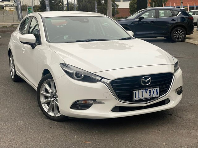Used Mazda 3 BN5438 SP25 SKYACTIV-Drive GT South Melbourne, 2017 Mazda 3 BN5438 SP25 SKYACTIV-Drive GT Crystal White Pearl 6 Speed Sports Automatic Hatchback