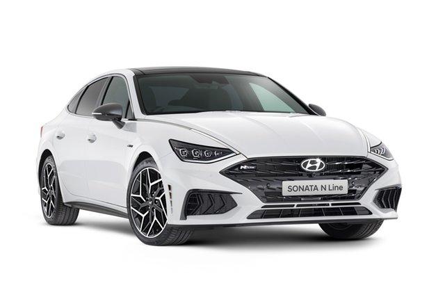 Demo Hyundai Sonata DN8.V1 MY21 N Line DCT Geelong, 2021 Hyundai Sonata DN8.V1 MY21 N Line DCT White Cream 8 Speed Automatic Sedan