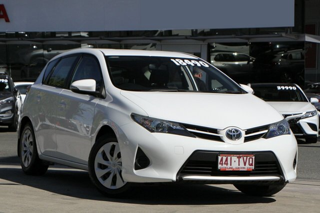 Pre-Owned Toyota Corolla ZRE182R Ascent S-CVT North Lakes, 2014 Toyota Corolla ZRE182R Ascent S-CVT Glacier White 7 Speed Constant Variable Hatchback