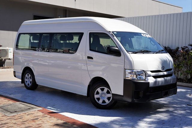 Used Toyota HiAce KDH223R MY14 Commuter High Roof Super LWB Cairns, 2014 Toyota HiAce KDH223R MY14 Commuter High Roof Super LWB White 4 Speed Automatic Bus