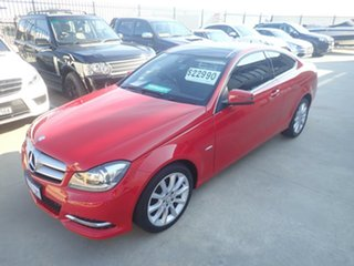 2011 Mercedes-Benz C180 W204 MY11 BE Bright Red 7 Speed Automatic G-Tronic Coupe