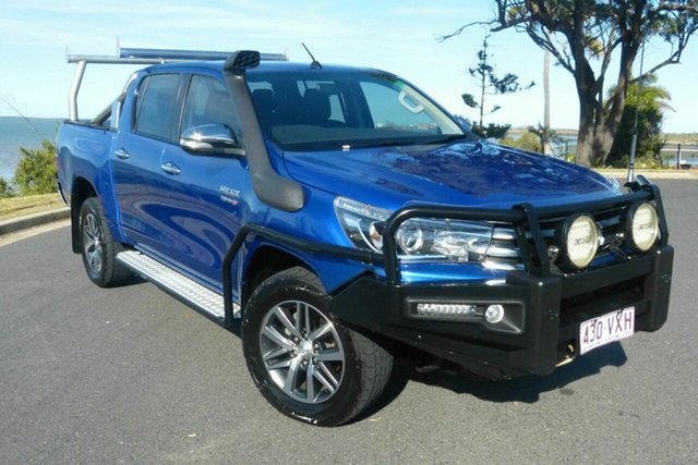 Used Toyota Hilux GUN126R SR5 Double Cab Gladstone, 2015 Toyota Hilux GUN126R SR5 Double Cab Blue 6 Speed Sports Automatic Utility