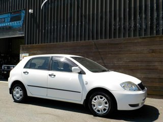 2002 Toyota Corolla ZZE122R Ascent White 4 Speed Automatic Hatchback.