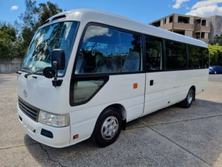 2013 Toyota Coaster Deluxe White Passenger Bus.