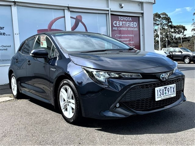 Pre-Owned Toyota Corolla ZWE211R SX E-CVT Hybrid Ferntree Gully, 2020 Toyota Corolla ZWE211R SX E-CVT Hybrid Peacock Black 10 Speed Constant Variable Hatchback