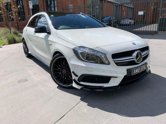 Used Mercedes-Benz A-Class W176 805+055MY A45 AMG SPEEDSHIFT DCT 4MATIC South Melbourne, 2015 Mercedes-Benz A-Class W176 805+055MY A45 AMG SPEEDSHIFT DCT 4MATIC White 7 Speed