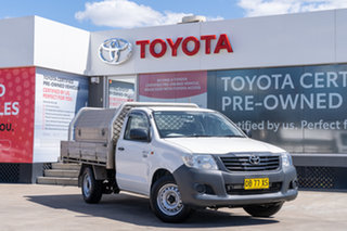 2012 Toyota Hilux TGN16R MY12 Workmate 4x2 Glacier White 4 Speed Automatic Cab Chassis.