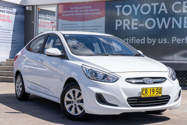 Pre-Owned Hyundai Accent RB4 MY17 Active Guildford, 2017 Hyundai Accent RB4 MY17 Active White 6 Speed CVT Auto Sequential Sedan