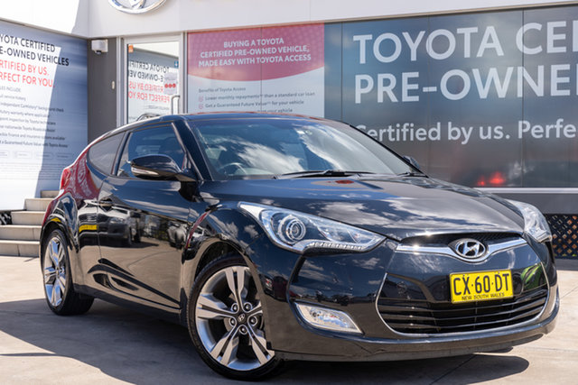 Pre-Owned Hyundai Veloster FS MY13 Guildford, 2014 Hyundai Veloster FS MY13 Black 6 Speed Auto Dual Clutch Coupe