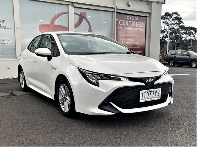 Pre-Owned Toyota Corolla ZWE211R Ascent Sport E-CVT Hybrid Ferntree Gully, 2020 Toyota Corolla ZWE211R Ascent Sport E-CVT Hybrid Glacier White 10 Speed Constant Variable