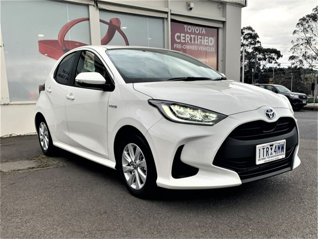 Pre-Owned Toyota Yaris Mxph10R SX Hybrid Ferntree Gully, 2021 Toyota Yaris Mxph10R SX Hybrid Glacier White 1 Speed Constant Variable Hatchback Hybrid