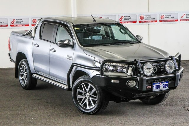 Pre-Owned Toyota Hilux GUN126R MY19 SR5+ (4x4) Myaree, 2018 Toyota Hilux GUN126R MY19 SR5+ (4x4) Silver Sky 6 Speed Automatic Double Cab Pick Up