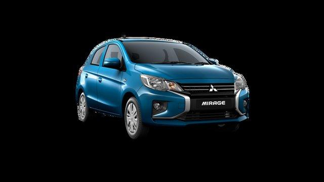 Demo Mitsubishi Mirage LB MY22 ES Hamilton, 2021 Mitsubishi Mirage LB MY22 ES Cyber Blue 1 Speed Constant Variable Hatchback