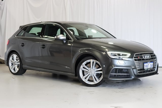 Used Audi S3 8V MY18 Sportback S Tronic Quattro Wangara, 2018 Audi S3 8V MY18 Sportback S Tronic Quattro Grey 7 Speed Sports Automatic Dual Clutch Hatchback