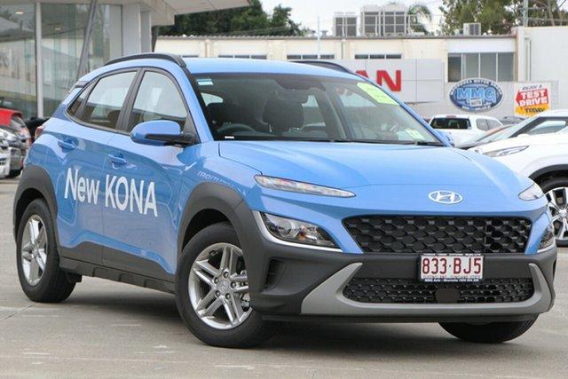 Demo Hyundai Kona Os.v4 MY21 2WD Moorooka, 2020 Hyundai Kona Os.v4 MY21 2WD Surfy Blue 8 Speed Constant Variable Wagon