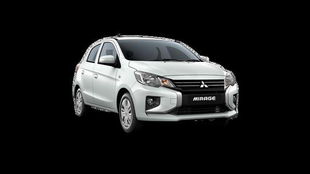 Demo Mitsubishi Mirage LB MY22 ES Hamilton, 2021 Mitsubishi Mirage LB MY22 ES White 1 Speed Constant Variable Hatchback