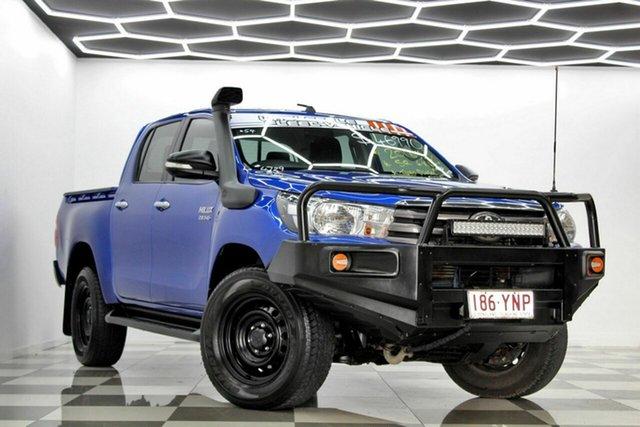 Used Toyota Hilux GUN126R SR (4x4) Burleigh Heads, 2016 Toyota Hilux GUN126R SR (4x4) Blue 6 Speed Automatic Dual Cab Utility
