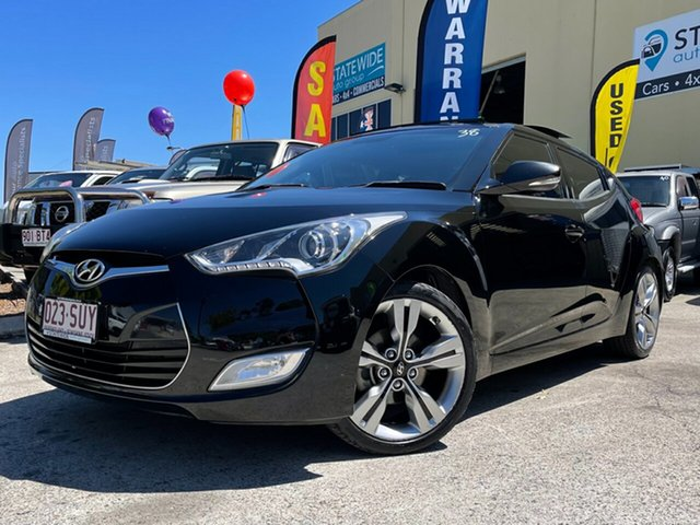 Used Hyundai Veloster FS Capalaba, 2012 Hyundai Veloster FS Black 6 Speed Auto Dual Clutch Coupe