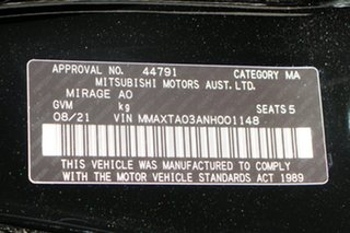 2021 Mitsubishi Mirage LB MY22 ES Black 1 Speed Constant Variable Hatchback.
