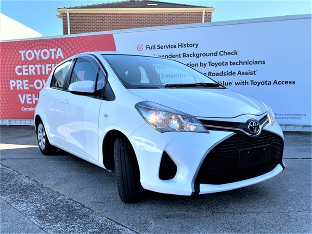 Pre-Owned Toyota Yaris NCP130R Ascent Glen Waverley, 2015 Toyota Yaris NCP130R Ascent Glacier White 4 Speed Automatic Hatchback