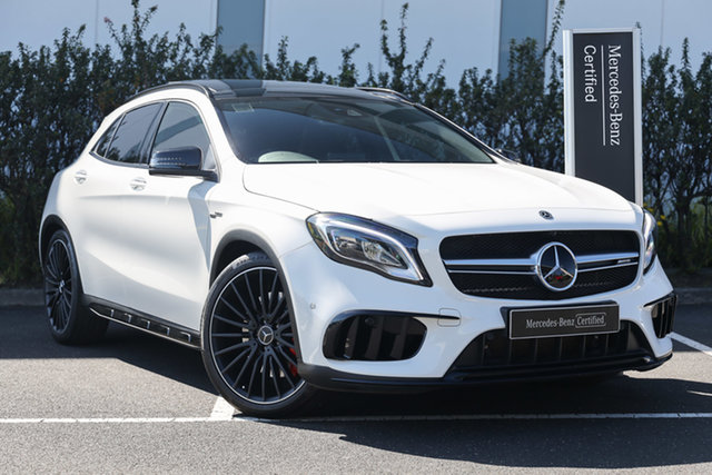Certified Pre-Owned Mercedes-Benz GLA-Class X156 808+058MY GLA45 AMG SPEEDSHIFT DCT 4MATIC Mulgrave, 2018 Mercedes-Benz GLA-Class X156 808+058MY GLA45 AMG SPEEDSHIFT DCT 4MATIC Polar White 7 Speed