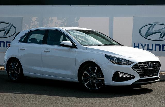 New Hyundai i30 PD.V4 MY21 Elite Warwick, 2021 Hyundai i30 PD.V4 MY21 Elite Polar White 6 Speed Sports Automatic Hatchback