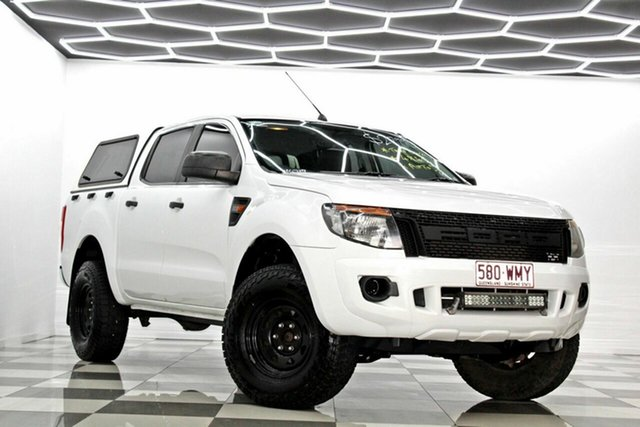 Used Ford Ranger PX XL 2.2 (4x4) Burleigh Heads, 2011 Ford Ranger PX XL 2.2 (4x4) White 6 Speed Automatic Crew Cab Utility
