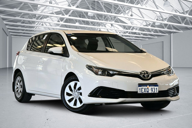 Used Toyota Corolla ZRE182R Ascent Perth Airport, 2015 Toyota Corolla ZRE182R Ascent Glacier White 7 Speed CVT Auto Sequential Hatchback