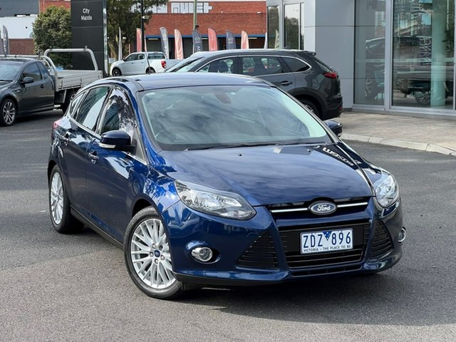 Used Ford Focus LW Sport PwrShift South Melbourne, 2012 Ford Focus LW Sport PwrShift Ink Blue 6 Speed Sports Automatic Dual Clutch Hatchback