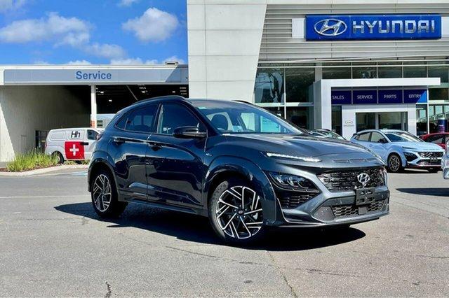 New Hyundai Kona Os.v4 MY21 N-Line D-CT AWD Premium South Melbourne, 2021 Hyundai Kona Os.v4 MY21 N-Line D-CT AWD Premium Dark Knight 7 Speed