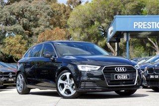 2017 Audi A3 8V MY17 Sport Sportback S Tronic Black 7 Speed Sports Automatic Dual Clutch Hatchback.