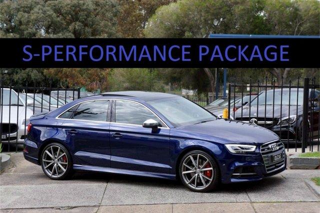 Used Audi S3 8V MY18 S Tronic Quattro Balwyn, 2018 Audi S3 8V MY18 S Tronic Quattro Navarra Blue 7 Speed Sports Automatic Dual Clutch Sedan