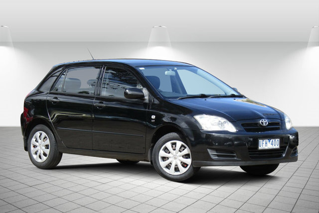 Used Toyota Corolla ZZE122R 5Y Ascent Oakleigh South, 2006 Toyota Corolla ZZE122R 5Y Ascent Alfa Black 4 Speed Automatic Hatchback