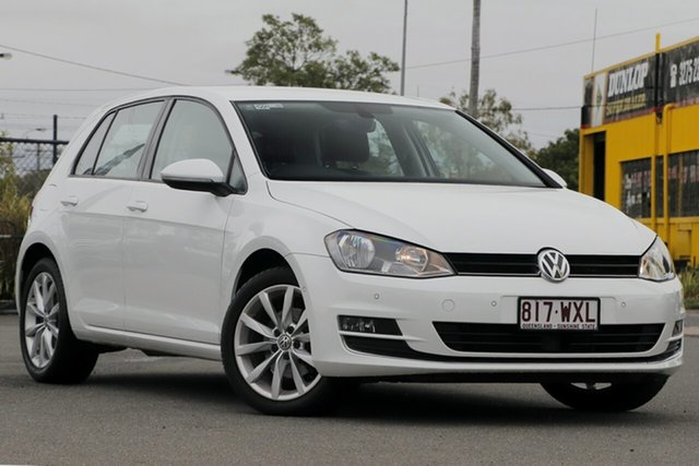 Used Volkswagen Golf VII MY16 110TSI DSG Highline Rocklea, 2016 Volkswagen Golf VII MY16 110TSI DSG Highline Pure White 7 Speed Sports Automatic Dual Clutch