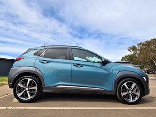 2018 Hyundai Kona OS MY18 Highlander D-CT AWD Teal 7 Speed Sports Automatic Dual Clutch Wagon.