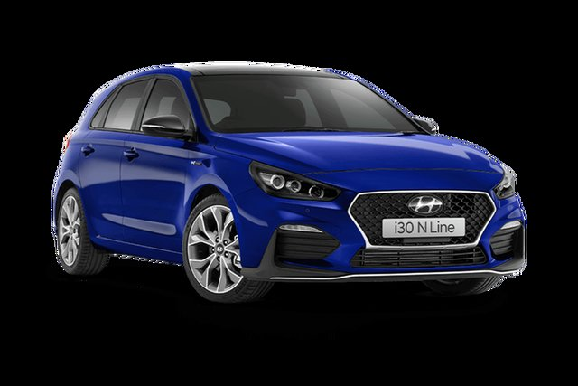Demo Hyundai i30 PD.V4 MY21 N Line D-CT Premium Hamilton, 2021 Hyundai i30 PD.V4 MY21 N Line D-CT Premium Intense Blue 7 Speed Sports Automatic Dual Clutch